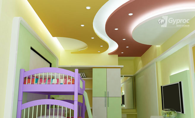 False ceiling designs for kids room saint gobain gyproc for Roof ceiling design in india