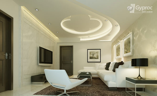 Ceiling Ideas For Living Room false ceiling ideas for drawing room Design Ideas Living Room Wooden Plank Pop False Ceiling Gharexpert