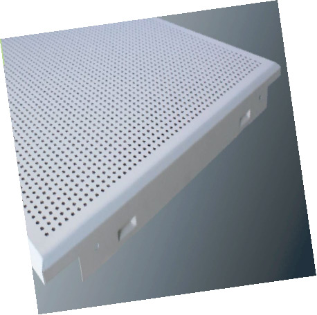 GI Metal Ceiling Clip in Perforated Beveled Edge Global White Color Tiles